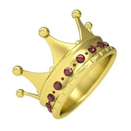 corona rey: Corona de oro decorada con rubíes aislados hacen en un fondo blanco