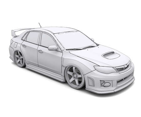 wire mesh: Car rendering in lines  Isolated render on a white background