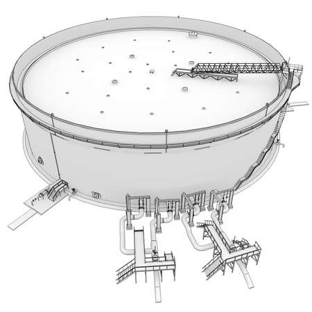 Oil tank rendering in lines  Isolated render on a white background Stock Photo