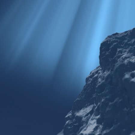 fond marin: Underwater Grande pierre dans l'eau rendu 3d