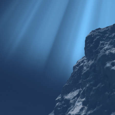 unterseeboot: Underwater Gro�er Stein im Wasser 3d render