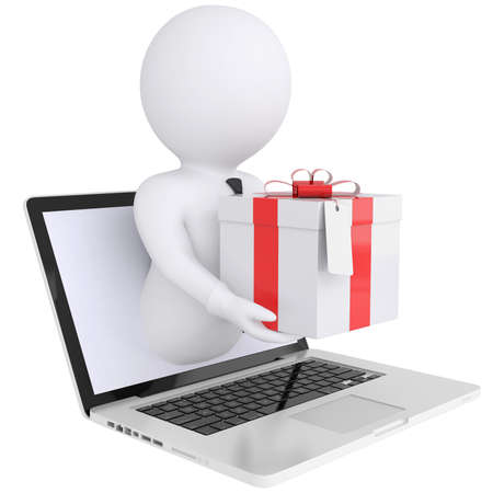 3d white man out of the computer holding a gift box  Isolated render on a white background Standard-Bild