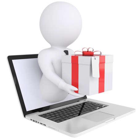 3D weißer Mann aus dem Computer mit einem Geschenk-Box isoliert render auf weißem Hintergrund Standard-Bild - 20055298