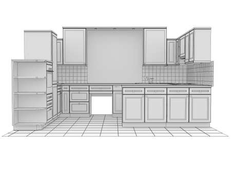 blue white kitchen: Kitchen rendered by lines  Isolated render on a white background