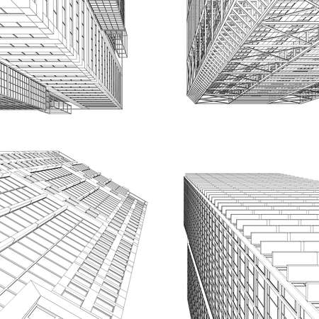회사: 고립 라인 마천루 렌더링 흰색 배경에 렌더링 스톡 사진