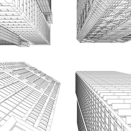 baustellen: Wolkenkratzer-Rendering in Linien machen Isoliert auf einem wei�en Hintergrund