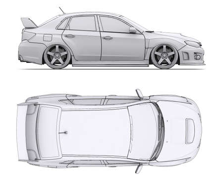 Car rendering in lines  Isolated render on a white background