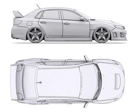 Car-Rendering in Linien machen Isoliert auf einem weißen Hintergrund Standard-Bild - 20055315