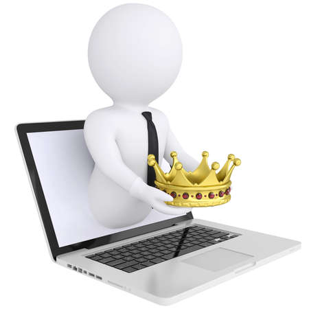3d white man out of the computer holds a golden crown  Isolated render on a white background photo