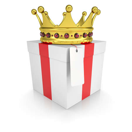majesty: A gift with a crown  Isolated render on a white background