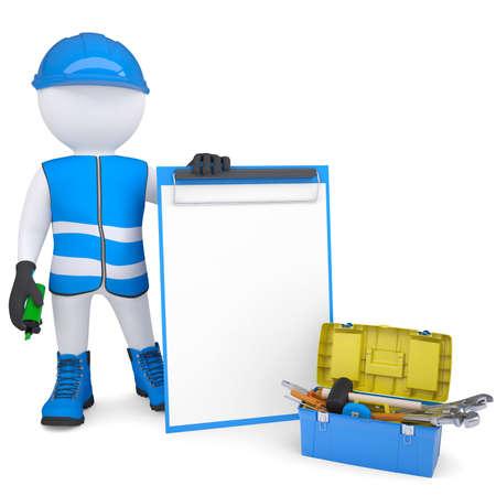 3D weißer Mann in Overalls mit Checklisten und Tools machen Isoliert auf einem weißen Hintergrund Standard-Bild - 20055309