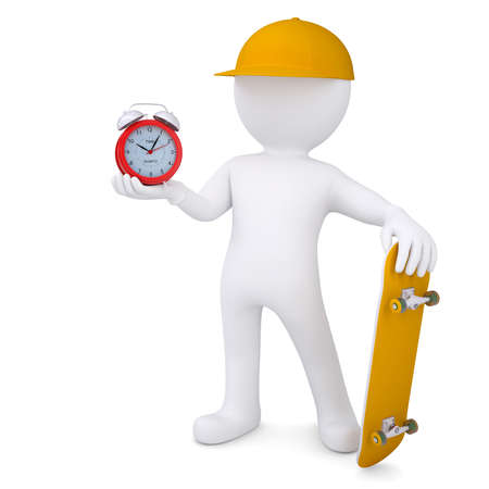3d white man holding a skateboard and an alarm clock  Isolated render on a white background photo