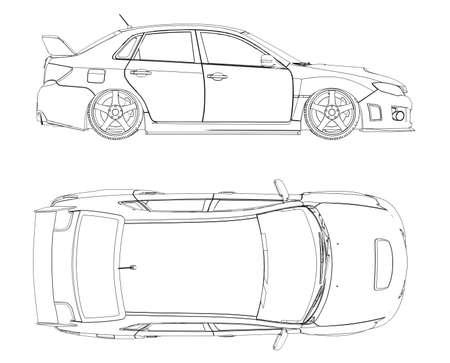 Rappresentazione dell'automobile in linee isolate rendere su uno sfondo bianco