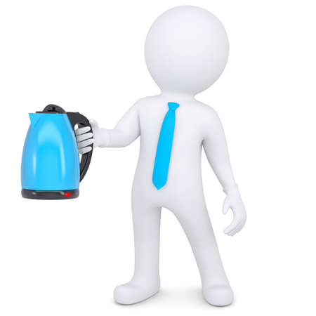 3d white man holding an electric kettle  Isolated render on a white background photo