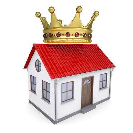 majesty: A small house with a crown  Isolated render on a white background