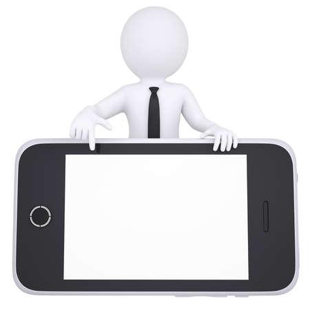 3D weißer Mann zeigt mit dem Finger auf Smartphone Isolated render auf weißem Hintergrund Standard-Bild - 20055270