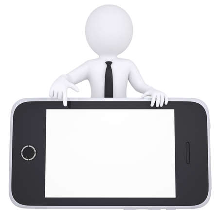 leaned: 3d white man points a finger to smartphone  Isolated render on a white background