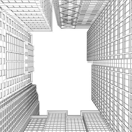 Prestaci?n Rascacielos en l?neas aislados hacen en un fondo blanco