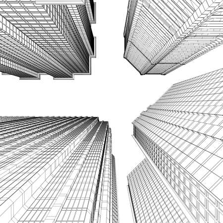 Skyscraper rendering in lines  Isolated render on a white background