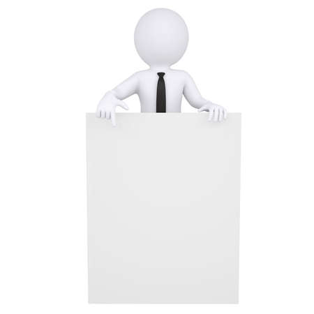 3d white man points a finger at the book  Isolated render on a white background photo