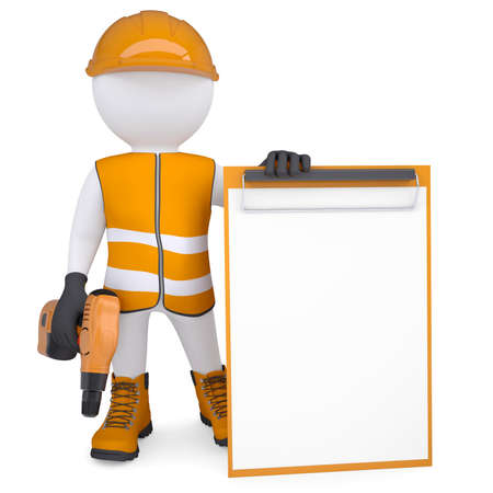 3d white man in overalls with a screwdriver  Isolated render on a white background Standard-Bild