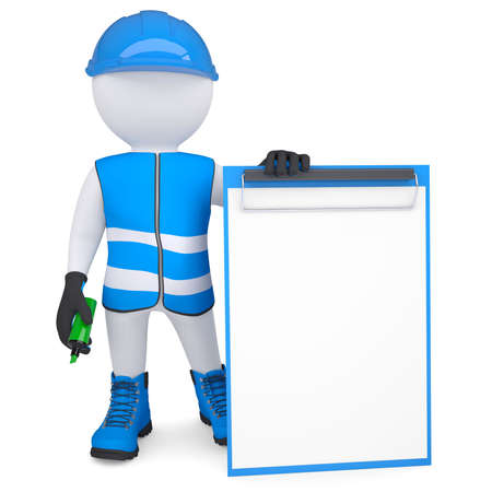 3d white man in overalls with a checklist and a marker  Isolated render on a white background