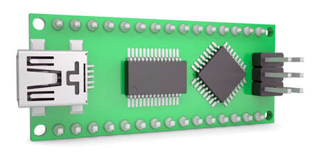 Computer board with chips and USB output  Isolated render on a white background Stock Photo - 20055358
