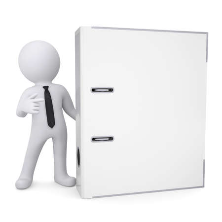 binders: 3d white man points a finger at the office folder  Isolated render on a white background