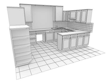 Kitchen rendered by lines  Isolated render on a white background