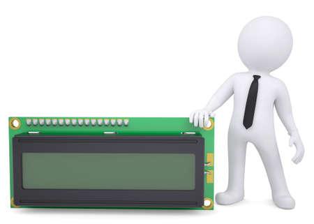 liquid crystal: Hombre blanco 3d que sostiene una pantalla de cristal l�quido aislados hacen en un fondo blanco