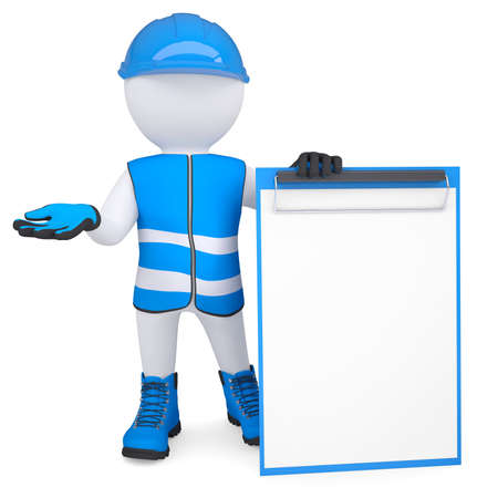 glove puppet: 3d white man in overalls with a checklist  Isolated render on a white background