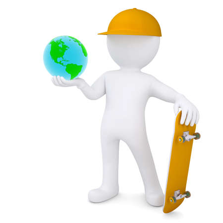 3d white man holding a skateboard and Earth  Isolated render on a white background photo