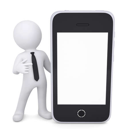 3d white man points a finger to smartphone  Isolated render on a white background
