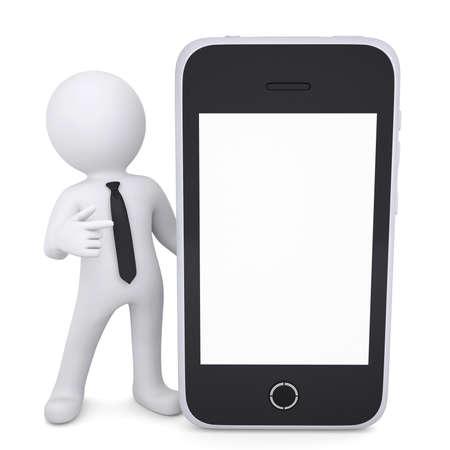 3D wei?er Mann zeigt mit dem Finger auf Smartphone Isolated render auf wei?em Hintergrund Standard-Bild - 20055290