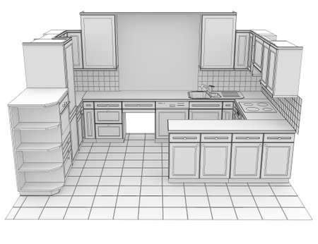 wire mesh: Kitchen rendered by lines  Isolated render on a white background