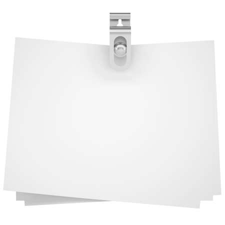 binder clip: Binder clip and paper  Isolated render on a white background