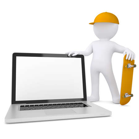 3d white man holding a skateboard and laptop  Isolated render on a white background photo