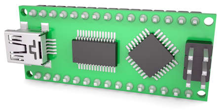 Computer board with chips and USB output  Isolated render on a white background photo