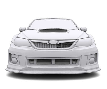 Car rendering in lines  Isolated render on a white background photo