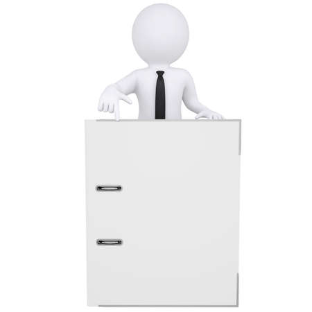 out of office: 3d white man points a finger at the office folder  Isolated render on a white background