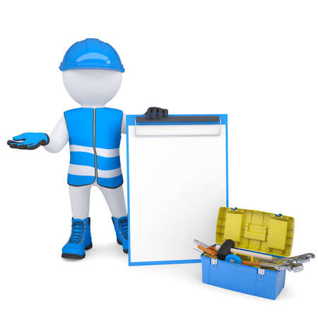 3d white man in overalls with checklists and tools  Isolated render on a white background Stock Photo