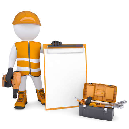 3d white man in overalls with checklists and tools  Isolated render on a white background Standard-Bild