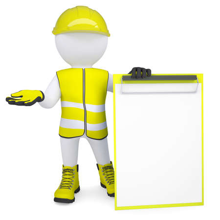 3d white man in overalls with a checklist  Isolated render on a white background