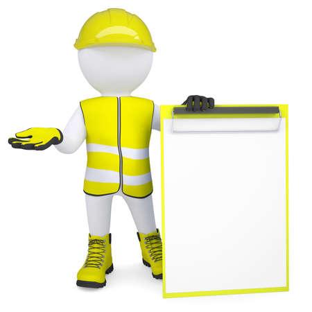 3D weißer Mann in Overalls mit einer Checkliste Isolated render auf weißem Hintergrund Standard-Bild - 20130697