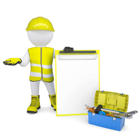 glove puppet: 3d white man in overalls with checklists and tools  Isolated render on a white background Stock Photo