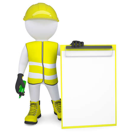 glove puppet: 3d white man in overalls with a checklist and a marker  Isolated render on a white background