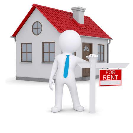 Witte 3d mens en klein huis met tekenen een huurovereenkomst Geïsoleerde render op een witte achtergrond