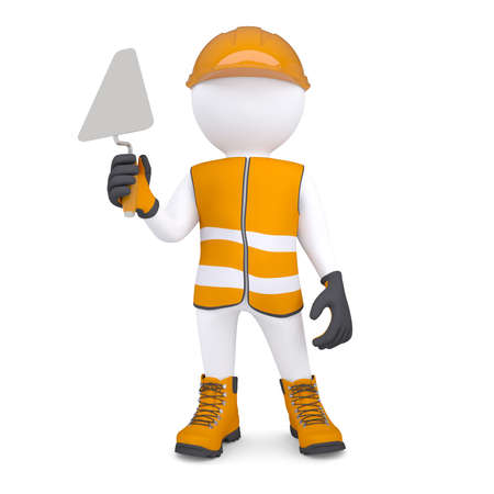 3d white man in overalls with a trowel  Isolated render on a white background photo