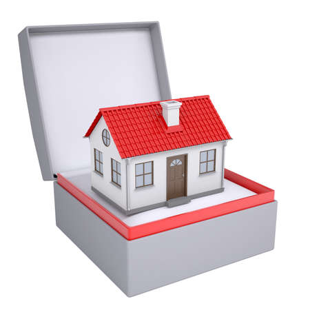 Small house in open gift box  3d render isolated on white background photo