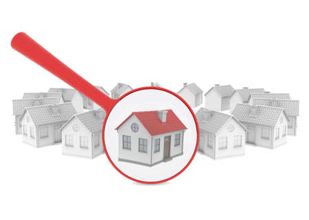 Choosing home  Several houses and a magnifying glass  Isolated render on a white background
